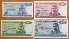 Zimbabwe Set of 4 banknotes 2,5,10 and 20 dollars 1983 - 1994 UNC (26208)