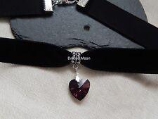 Collar/Gargantilla De Terciopelo Negro Corazón De Cristal Púrpura Oscuro Gótico/Disfraz/Fiesta UK