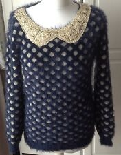 Ladies Size M/L New Look Mizumi Range Blue/Gold Sequined Collared Jumper