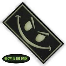 3D PVC Evil Smiley Face Military Army Tactical Airsoft Morale Patch Front Glow