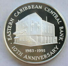 East Caribbean 1993 Central Bank 10 Dollars Silver Coin,Proof