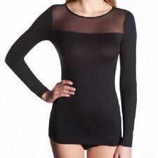 OROBLU Perfectline Camiseta,manga larga,cuello redondo,tul / opaco,negro,XL =