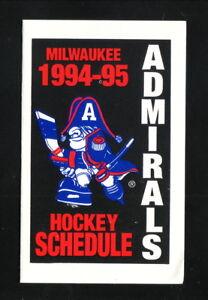 Milwaukee Admirals--1994-95 Pocket Schedule--Pepsi--IHL