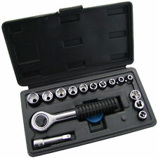 "1/4"" Socket Set Drive Ratchet Handle 16 Piece Metric Tool Kit 4mm - 13mm Case"