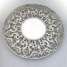 Roger Williams Openwork Ornate Cake Plate Sterling Silver Overlay