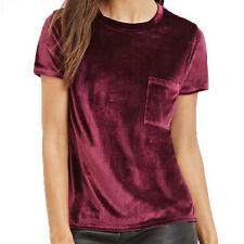 Ladies Women Short Sleeve Pocket Velvet T shirt Crushed Slim Top Blouse T-Shirt