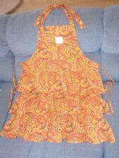 New listing April Cornell Apron Ruffled Bib Paisley Yellow & Pink Tiered 100% Cotton Nwt