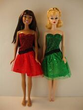 A Set of 2 Christmas Holiday Party Dresses in Red & Green for Barbie Doll