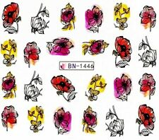 Nail Art Stickers Transfers Decals Abstract Red Purple Yellow Flowers (BN1446)