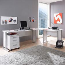 Winkelschreibtisch Büro Office Line Schreibtisch in weiß mit Rollcontainer