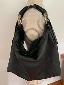 GUCCI Black Leather Horsebit Large Satchel Tote Handbag 114900
