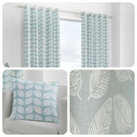 Fusion DELFT Duck Egg Leaf Patterned 100% Cotton Eyelet Curtains & Cushions