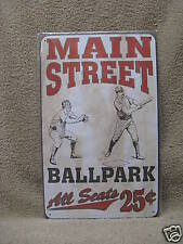 Baseball Ballpark Main Street Vintage look Tin Metal Sign New