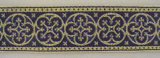 Jacquard, Religious, Vestment Trim. Gold & Royal Blue