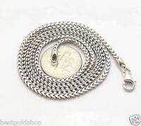 2.3mm Mens Anti-Tarnish Solid Franco Chain Necklace Real 925 Silver ITALY
