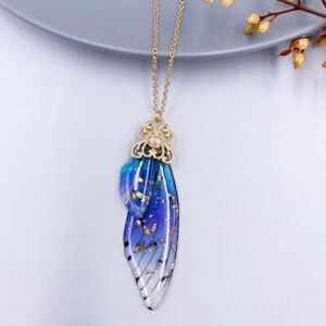 Fairy Gold Pendant Resin Blue Butterfly Wing Necklace Wedding Jewelry Gift