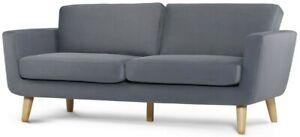 Sofa 3 Sitzer Couch 3 seater Wohnlandschaft Stoff retro lounge skandi Holz TAGIO