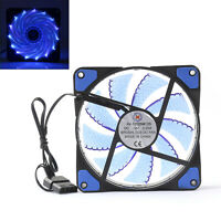 1x120mm 3 4 Pin CPU Manga Cojinete Enfriador Fan Ordenador 15 LED Luz 12V Azul#