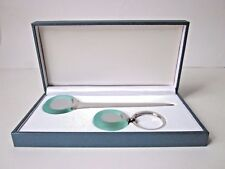 Exclusive Desk Top Boxed Green Glass Gift Set-Letter Opener & Key Ring-Mens Gift
