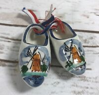 Signed MINIATURE CERAMIC DUTCH CLOGS SHOES SET HAND PAINTED WINDMILL VINTAGE