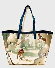 Cath Kidston Disney Bambi Bag Snow Forest Scene Handbag Velvet Spot Polka Dot