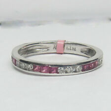Pink Sapphires Band 14K White Gold 0.51ct F-G Si Round Cut Diamond And