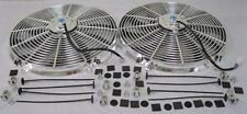 """Dual 16"""" Universal Chrome S-Blade Electric Radiator Cooling Fans w/ Mounting Kit"""