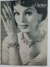 1956 Cartier diamond necklace bracelet earrings ring vintage jewelry ad
