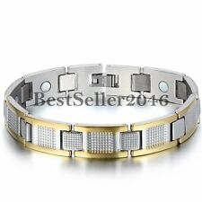 Two-tone Stainless Steel Golf Link Charm Health Energy Magnetic Men's Bracelet