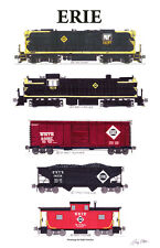 """Erie Railroad Freight Train 11""""x17"""" Poster by Andy Fletcher signed"""