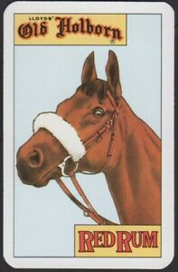 Playing Cards 1 Single Card OLD HOLBORN TOBACCO Advertising RED RUM Race Horse A