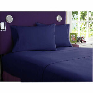 6 PC Sheet Set Egyptian Cotton 1000 Thread Count UK Super King Navy Blue Solid