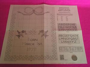 CRAFT CHART CROSS STITCH /EMBROIDERY 'STITCHCRAFT BABY'S SAMPLER 5/79'