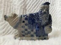 Rowe Pottery Works Christmas Santa with Pig Salt Glaze Stoneware Figurine