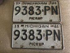 Pair of Matching 1961 Michigan MI Pickup License Plates - 9383 PN