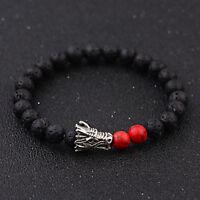 Charm Men Natural Stone Beaded Black Lava Stone Tiger Eye Dragon Bangle Bracelet