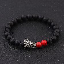 Fashion Natural Stone Beaded Bracelet Black & Lava Stone Tiger Eye Dragon Bangle