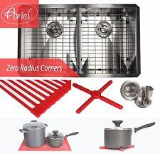 """Ariel 32"""" Undermount Stainless Steel Zero Radius Double Bowl Kitchen sink Combo"""
