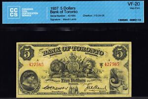 1937 Bank of Toronto $5 certified CCCS VF20