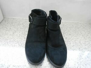 Ladies Black Suede  Ankle Boots Side Zip   * Size  5** New Look