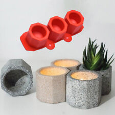 3 Cavity Silicone Pot Mold Clay Concrete Succulent Flower Cement Pot Cup Moub Qi