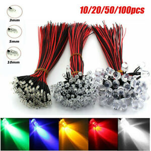 LED Pre wired Light 10/20/50/100pcs DC12V 3mm 5mm 10mm Emitting Diodes Wire Bulk