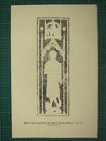 1891 Antico Stampa Monumentale Ottone Sfregamento Matrix Cross-Legged Cavaliere