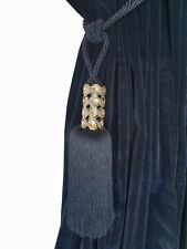 Blue Crystal Bead Window Curtain Drapery Tassel Dual Rope/Cord Tie Back Holdback