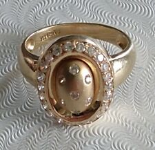 Vintage FVR 14K Solid Yellow Gold Ring With White Stones Size 7.5