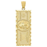 One Hundred Dollar Bill Currency Diamond Cut Pendant Charm 10K Yellow Gold 1.85""