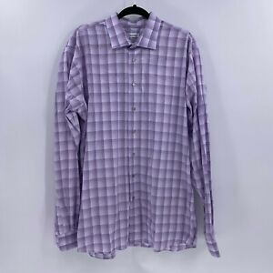 Calvin Klein mens purple plaid button down shirt sz 18 Tall 38/39