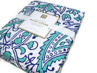 Pottery Barn Teen Multi Color Tea Paisley Cotton Full Queen Duvet Cover New