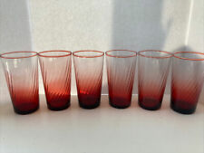 """Set of 6 VINTAGE Aroroc Cranberry Swirl 4 3/4"""" GLASSES Made in France EUC"""
