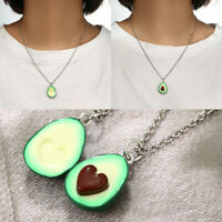 Fashion 3D Avocado Fruit Heart Pendant Necklace Gift For Lover Women Jewelry Hot